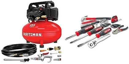 CRAFTSMAN Air Compressor, 6 gallon, Oil-Free Kit with Mechanics Tools
