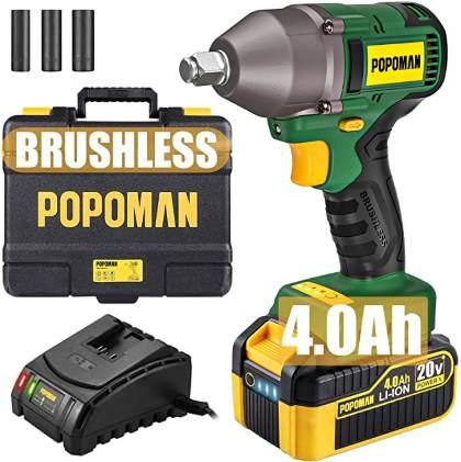 POPOMAN Brushless 20V Max Cordless Impact Wrench