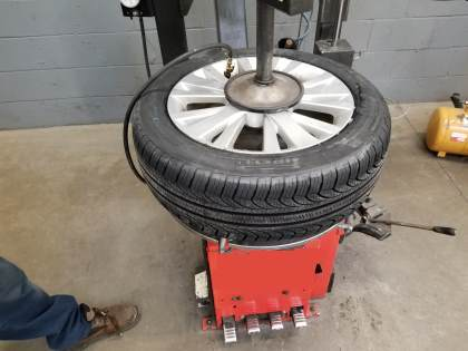 fully inflated tire before valve core installation