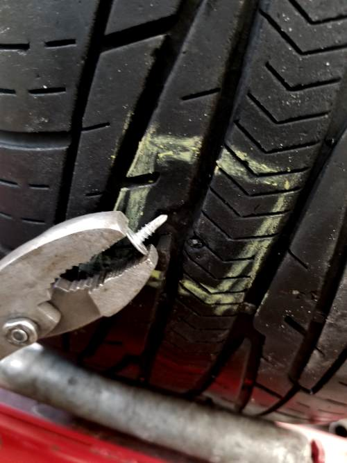 remove the object from the tire